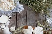 image of milk  - Tzfat cheese milk cottage cheese wheat and oat grains on old wooden background - JPG
