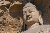 stock photo of cave  - stone Buddha sculpture in the cave in Shanxi - JPG