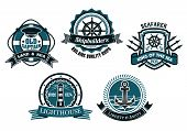 stock photo of trident  - Nautical themed emblems and badges depicting a life buoy - JPG