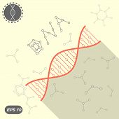 pic of molecules  - Simple DNA icon on yellow background with molecules 2d flat illustration vector eps 10 - JPG