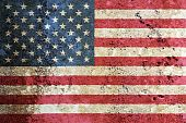 stock photo of usa flag  - Composition of the US flag painted on a marble surface - JPG