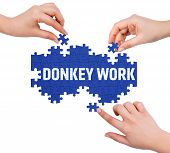 picture of donkey  - Hands with puzzle making DONKEY WORK word isolated on white - JPG