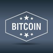image of bitcoin  - bitcoin hexagonal white vintage retro style label - JPG