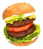 picture of beef-burger  - Double beef burger sandwich roll with tomato and lettuce isolated on a white background - JPG
