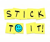 Stick To It - Words On Yellow Sticky Notes