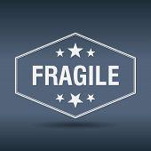 foto of fragile sign  - fragile hexagonal white vintage retro style label - JPG