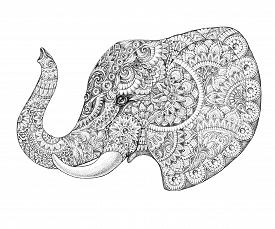 picture of indian elephant  - Tattoo profile elephant with patterns and ornaments - JPG