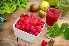 stock photo of smoothies  - Organic raspberry - JPG