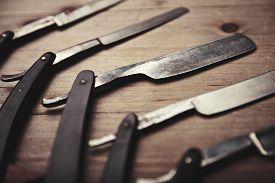 foto of barber razor  - Set of vintage barber shop tools with blank kraft paper  - JPG