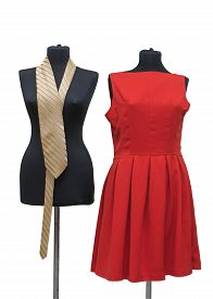 picture of dress mannequin  - female mannequins with a tie and red dress represent the lesbian couple ready to get married - JPG