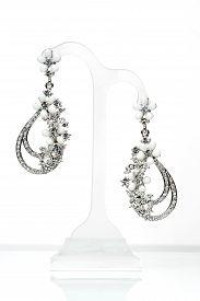 image of lapis lazuli  - earrings with Briliant on the white background - JPG