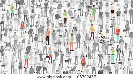 Crowd Of People With Few Individuals Highlighted