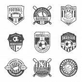 Set Of Sport Team Labels For Four Sport Disciplines poster