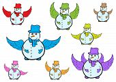 Постер, плакат: Clipart with winged snowmen
