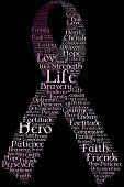 stock photo of breast cancer awareness ribbon  - A breast cancer awareness ribbon made only from words describing affected women - JPG