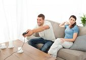 Desperate Woman Being Bored While Her Boyfriend Playing Video Game