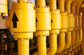 Постер, плакат: Pipelines constructions on the production platform Production process of oil and gas industry