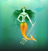 stock photo of undine  - in the depths of the sea is a beautiful mermaid with a gold trident in her hand - JPG