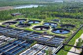stock photo of wastewater  - Water recycling and purification on sewage treatment station - JPG