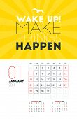Wall Calendar Template For January 2018. Vector Design Print Template With Typographic Motivational poster
