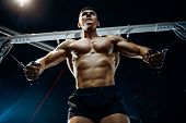 Brutal Caucasian Bodybuilder Training Chest In Gym poster