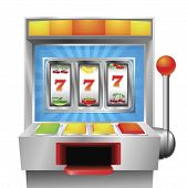 stock photo of slot-machine  - A slot or fruit machine illustration on white background - JPG