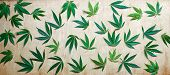 Leaves Of Marijuana, Cannabis On A Wooden Background, Beautiful Background, High Quality. Green Leav poster