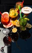 Alcoholic Beverage And Fruit At Restaurant. poster