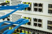 Network Security Equipment. Cybersecurity Infrastructure. Ethernet, Wired Transmission. poster
