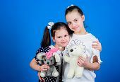 Kids Adorable Cute Girls Play With Soft Toys. Happy Childhood. Child Care. Sisters Or Best Friends P poster