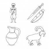 Vector Design Of Traditions And National Icon. Set Of Traditions And Sightseeing Stock Symbol For We poster