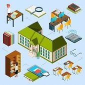 Isometric Library Vector Concept. 3d Public Library Building, Computer Area, E-reading Books, Librar poster