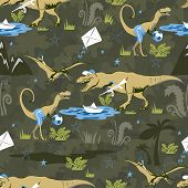 Play Lover Dinosaur Seamless Pattern For Kids Fashion. Childish Background With Cute Dinosaurs. poster