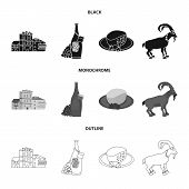 Isolated Object Of Culture And Sightseeing Logo. Collection Of Culture And Originality Vector Icon F poster