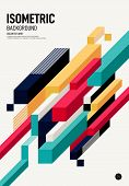 Abstract Isometric Geometric Shape Layout Poster Design Template Background Modern Art Style. Graphi poster