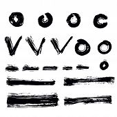 Vector Set Of Hand Drawn Brush Strokes. Collection Of Black Ink Abstract Textures. Grunge Ink Pen -  poster