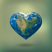 Poster With Earth Day. Earth In Heart Shape  With America Continent.  Illustration Of Our Planet. Ea poster