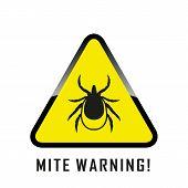 Mite Warning Sign. Encephalitis Parasite Icon. Illustration Of Tick Warning Sign On Yelow Background poster