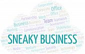 Sneaky Business Word Cloud. Collage Made With Text Only. poster