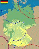 Realistic Weather Map Of The Germany Showing Isobars And Weather Fronts. Meteorological Forecast. Ed poster