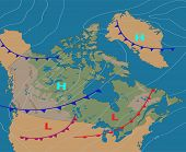 Weather Map Of The Canada. Realistic Synoptic Map Of The Country Showing Isobars And Weather Fronts. poster