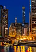 City of Chicago downtown and Chicago River sunset night Illinois USA. poster
