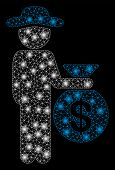 Glowing Mesh Gentleman Investor With Glitter Effect. Abstract Illuminated Model Of Gentleman Investo poster