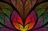 Multicolored Floral Pattern In Stained-glass Window Style. Symmetrical Fractal Pattern. Multicolor B poster