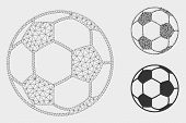 Mesh Football Ball Model With Triangle Mosaic Icon. Wire Carcass Triangular Mesh Of Football Ball. V poster
