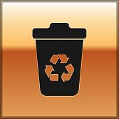 Black Recycle Bin With Recycle Symbol Icon Isolated On Gold Background. Trash Can Icon. Garbage Bin  poster