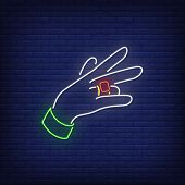 Gesturing Hand Neon Sign. Rap, Gesture, Party. Vector Illustration In Neon Style For Night Club, Par poster