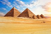 The Pyramids In The Sunny Desert Of Giza, Egypt poster