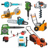 Power Tools Vector Electric Construction Equipment Circular-saw Lawn Mower Illustration Set Of Elect poster