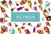Cartoon Tasty Ice Cream Concept With Fresh Sundae And Icecreams With Chocolate Nuts Vanilla Orange W poster
